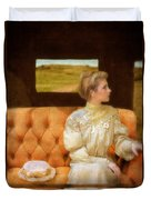 Victorian Lady Riding In A Carriage Duvet Cover
