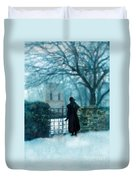 Victorian Woman At The Churchyard Gate Duvet Cover