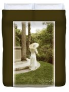Victorian Woman In Garden With Parasol Duvet Cover