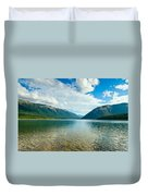 View Above A Beautiful Lake During Mid Day Duvet Cover