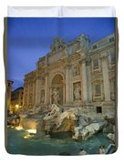 View At Dusk Of The Trevi Fountain Duvet Cover