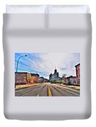 View Down Broadway Into Downtown Buffalo Ny Duvet Cover