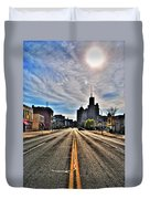 View Down Broadway Into Downtown Buffalo Ny Vert Duvet Cover