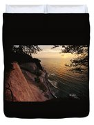 View Looking Down Cliffs At Sunset Duvet Cover