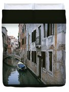 View Of A Canal In A Quiet Residential Duvet Cover