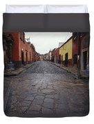 View Of Cobblestone Streets In San Duvet Cover