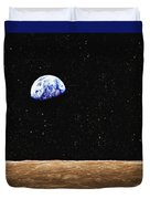 View Of Earth From The Moons Surface Duvet Cover