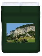 View Of Greenery And Waterfalls On A Swiss Cliff Duvet Cover