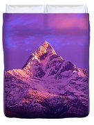 View Of Machhapuchhare At Sunrise From Duvet Cover