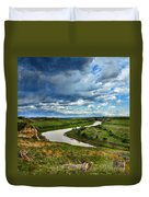 View Of River With Storm Clouds Duvet Cover