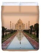 View Of Taj Mahal Reflecting In Pond Duvet Cover
