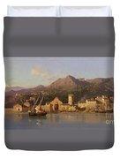 View Of Taormina Sicily Duvet Cover