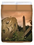 View Of The Round Tower And Gravestones Duvet Cover