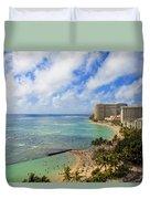 View Of Waikiki And Beach Duvet Cover