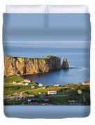 Village And Perce Rock At Sunset Duvet Cover