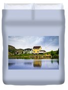 Village In Newfoundland Duvet Cover