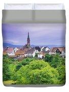 Village Of Rottelsheim, Alsace, France Duvet Cover