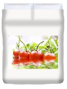 Vine Tomatoes And Salad With Water Duvet Cover