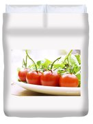 Vine Tomatoes On A Salad Plate Duvet Cover