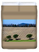 Vineyard On A Hill With Trees Duvet Cover