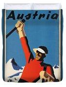 Vintage Austrian Skiing Travel Poster Duvet Cover