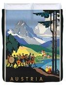 Vintage Austrian Travel Poster Duvet Cover