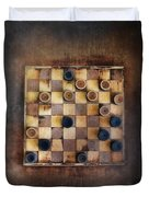Vintage Checkers Game Duvet Cover