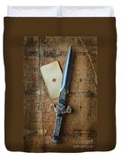 Vintage Dagger On Wood Table With Playing Card Duvet Cover