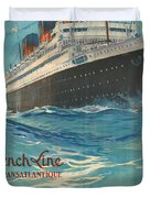 Vintage French Line Travel Poster Duvet Cover