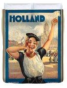 Vintage Holland Travel Poster Duvet Cover