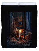 Vintage Lantern In A Barn Duvet Cover by Jill Battaglia