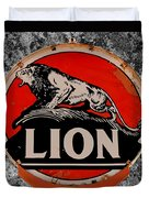 Vintage Lion Oil Sign Duvet Cover