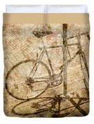 Vintage Looking Bicycle On Brick Pavement Duvet Cover