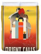 Vintage Oriental Tourist Conference Poster Duvet Cover