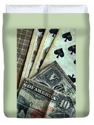 Vintage Playing Cards And Cash Duvet Cover