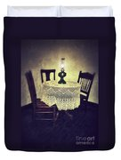 Vintage Table And Chairs By Oil Lamp Light Duvet Cover
