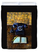Vintage Telephone And Notepad Duvet Cover
