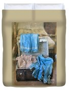 Vintage Trunk With Ladies Clothing Duvet Cover
