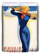 Vintage Winter In Austria Travel Poster Duvet Cover
