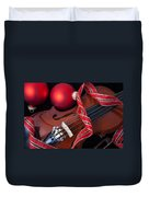 Violin And Red Ornaments Duvet Cover