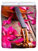 Violin And Roses Duvet Cover