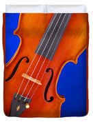 Violin Isolated On Blue Duvet Cover