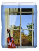 Violin On A Window Sill Duvet Cover
