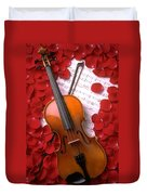 Violin On Sheet Music With Rose Petals Duvet Cover