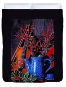 Violin With Blue Pot Duvet Cover
