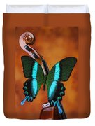 Violin With Green Black Butterfly Duvet Cover