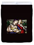 Virgin Mary And Baby Jesus Stained Glass Duvet Cover