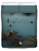 Visitors To Thermal Springs Of The Blue Duvet Cover