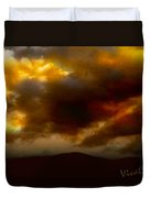 Vivachas Golden Hour Sunset Glowing Clouds  Duvet Cover