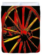 Wagon Wheel In Red Duvet Cover